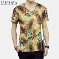 3D Printed Flowers Tshirts For Men Short Sleeve Thin Cotton Plus Size 5XL Slim Fit Novelty Style V-neck T Shirts 2016 New S208
