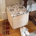 Simplicidade Pastoral palha de armazenamento de fezes fezes mudando seus sapatos sofá fezes pé da cama para se sentar caixa de brinquedos de madeira crianças pronto