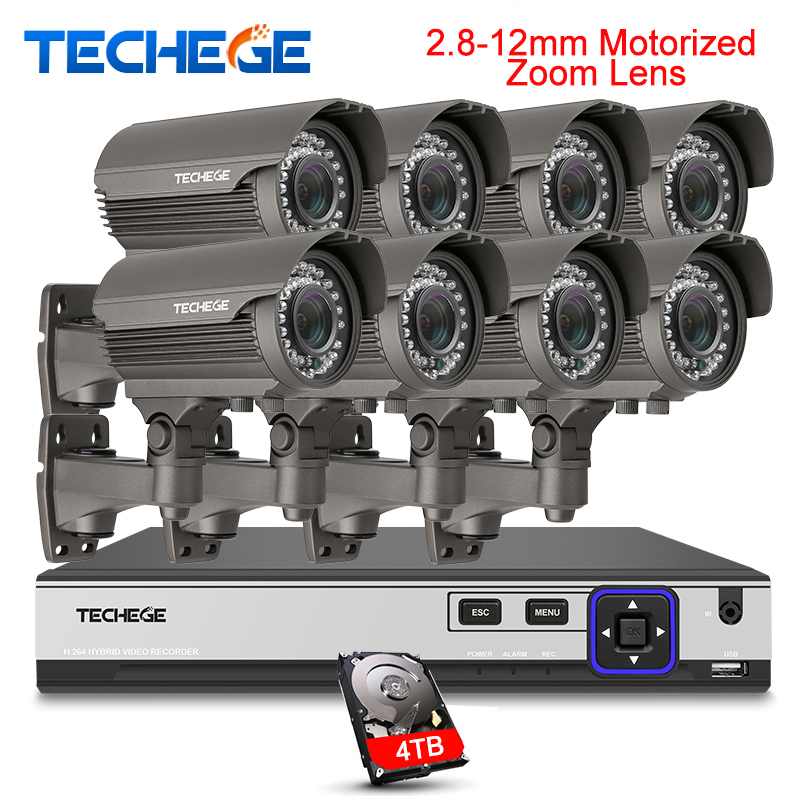 Techege H.265 Sécurité Surveillance Kits 8CH 4 k 48 v PoE NVR 4MP 2.8-12mm Motorisé Zoom Caméra système POE P2P Nuage système de vidéosurveillance