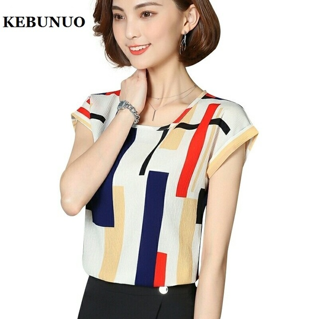 New 2017 Summer Chiffon Blouse Shirt Women Casual Printed White Top Blouses Shirts Female Office Tops