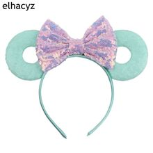 Retail 3.3Minnie Mouse Ears Headband New Arrival 5 Glitter Sequins Bows Donut Hairband For Women Girl Hair Accessories