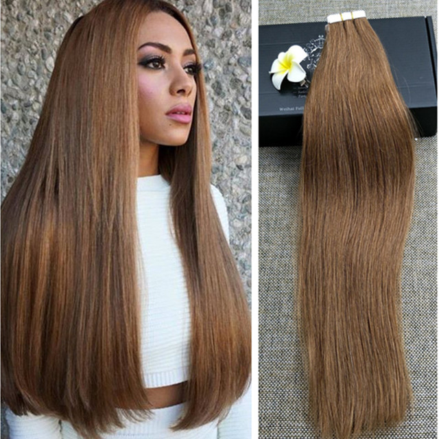 Full Shine Tape In Hair Extensions Double Drawn Color 8 Ash Brown