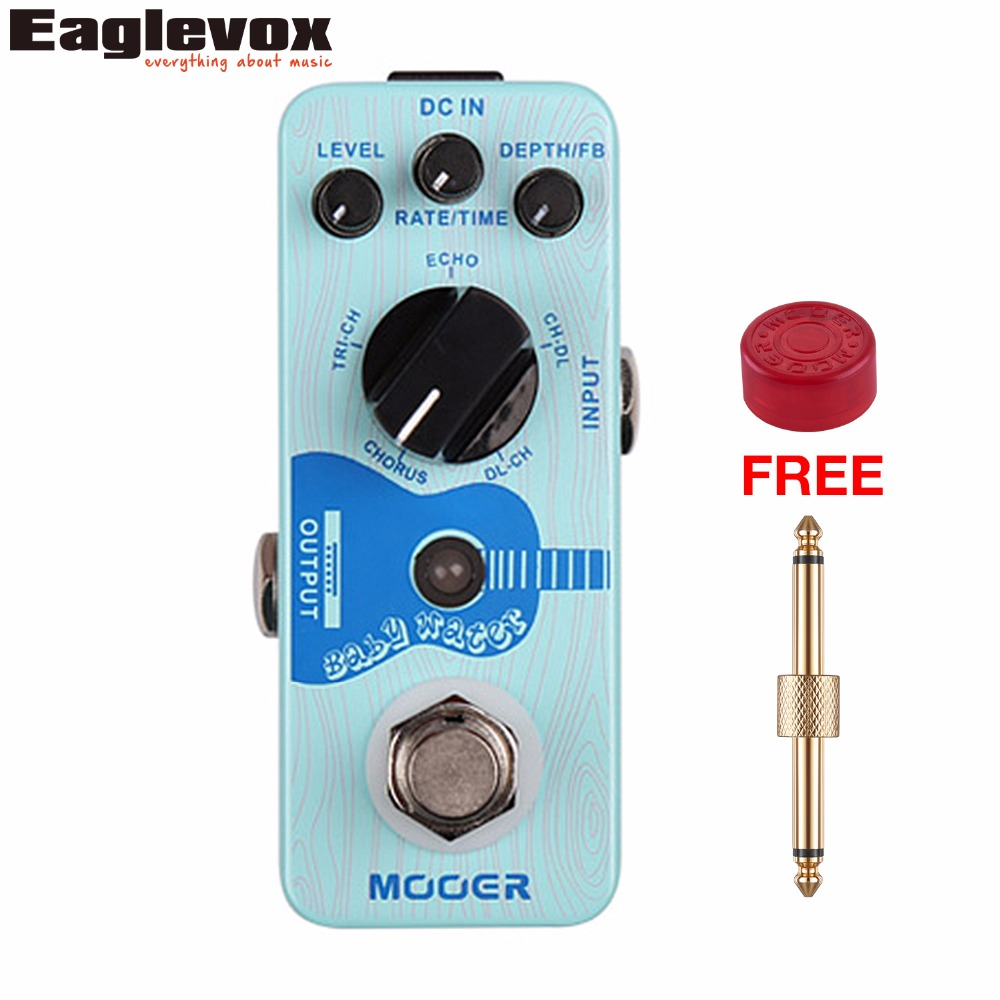 Mooer Baby Water Acoustic Guitar Effect Pedal Chorus Delay Digital Effects True bypass with Free Connector and Footswitch Topper mooer baby bomb guitar effect pedal master volume provide warm true tube like 30w digital micro power amp bm30
