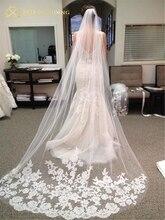 Envío gratis fotos reales 3M blanco/Marfil Catedral longitud borde de encaje boda velo de novia con peine accesorios de boda MD3078