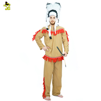 2016 Free Size Interesting Adult Men Cosplay Tops And Pants Including Headband Tassels Indian Costume Clothing