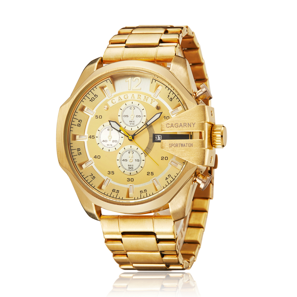 top luxury brand cagarny quartz watch for men gold steel band waterproof dz military Relogio Masculino mens watches drop shipping clock man cheap price (31)