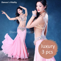 2017 Luxury Swarovski Bra Belt Chiffon Long Skirt Necklace Bracelet 5pcs Belly Dance Set For Women