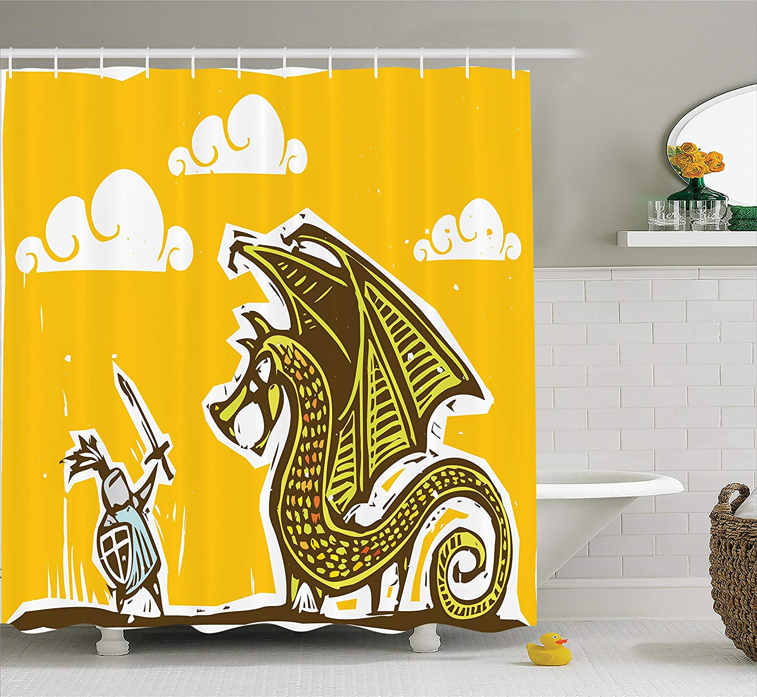 Shower Curtains That Open In The Middle.Funny Shower Curtain Warrior Against Dragon With Wings
