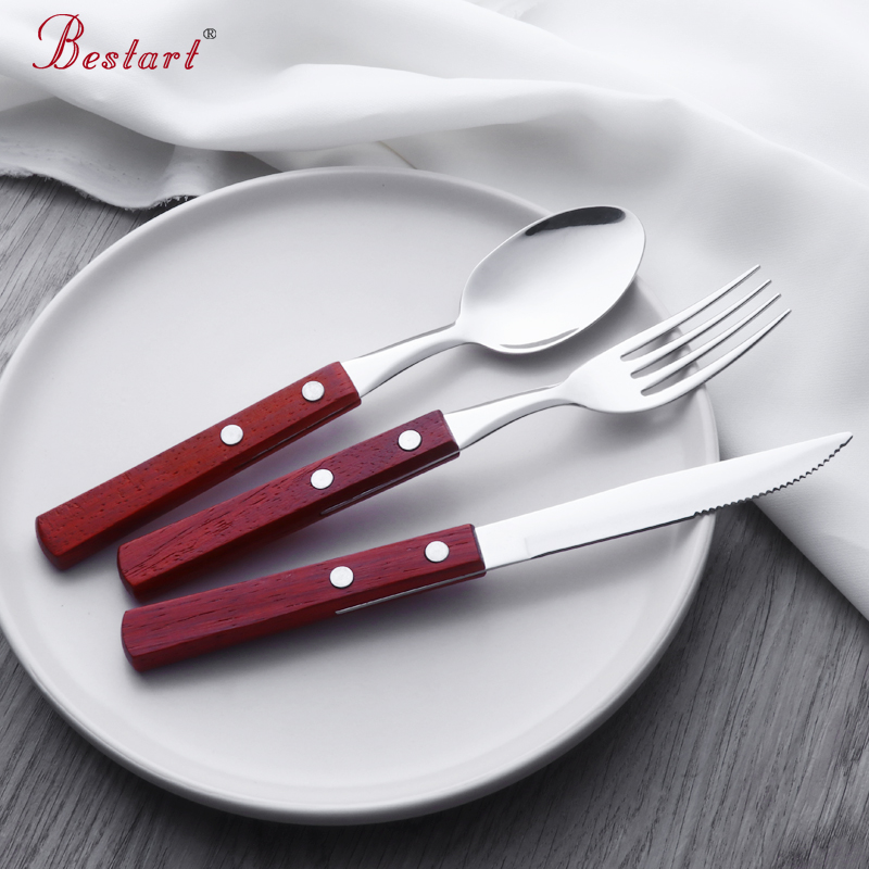 Luxury Wooden Handle Vintage Cutlery Eco Friendly