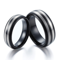 Tailor Made 8mm 6mm Black Dome Matching Tungsten Ring Set W 2 Laser Stripes Size 4