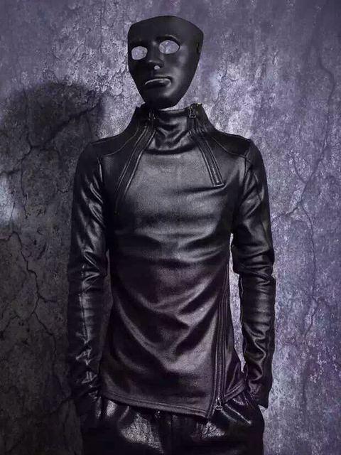 a88456b111a Новые осенние и зимние мужские Стенд воротник плюс бархат утолщение кожаная  рубашка с длинными рукавами Толстовка