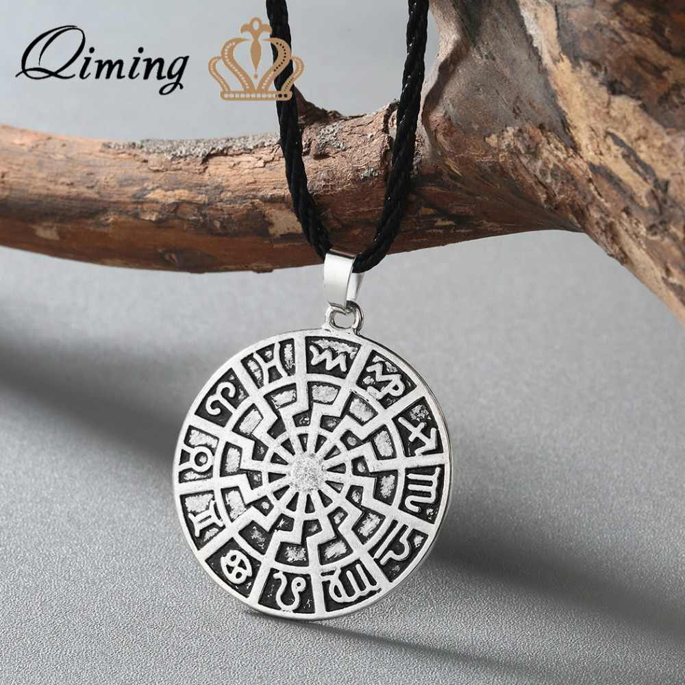 Viking Rune Slavic Necklace Men Raven Zodiac Hammer Compass Pendant Silver Vintage Amulet Jewelry Women Necklaces Male Collar