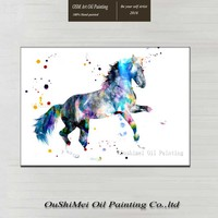 Oil Painting 100% Hand painted Modern Design Horse Oil Canvas Painting Watercolor Bright horse Oil Painting For Wall Decoration