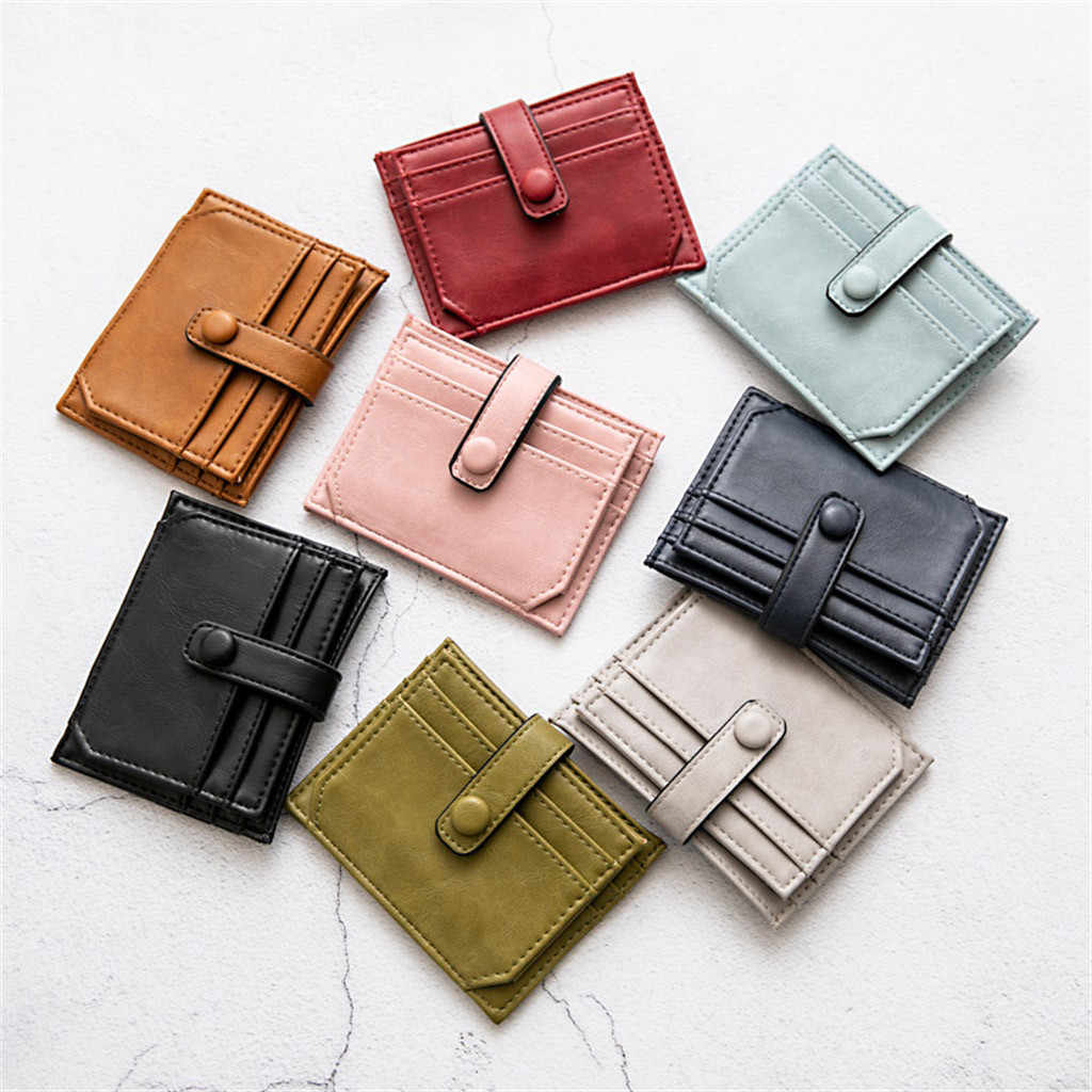 8accf8c0d007 Women Leather Slim Card Holder Wallet Men Mini Wallets Zipper Card Money  Holders Vintage Short Wallet Female Thin Small Purse