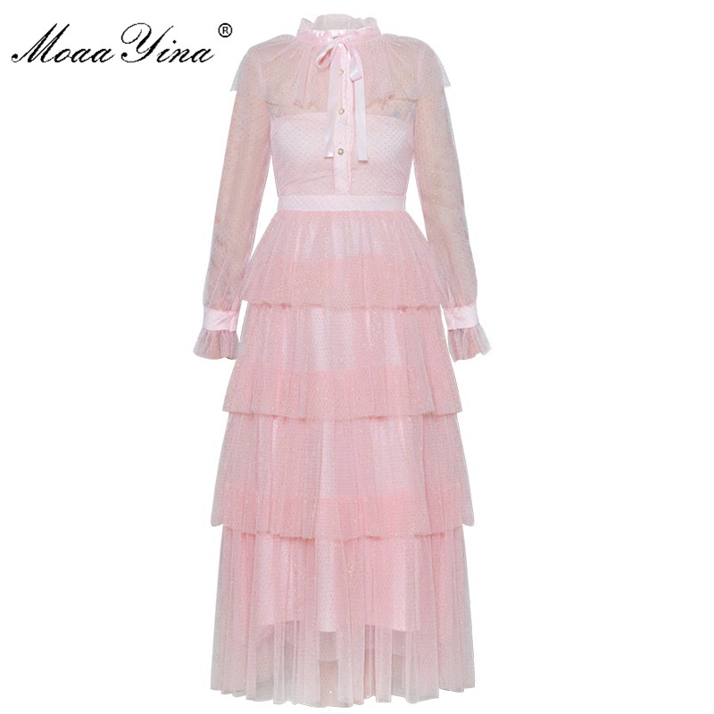 MoaaYina 2018 Spring Summer Designer Brand Dress Women Sweet Pink Tiered Mesh Lurex Cupcake Bowknot Ladies Party Ball Gown Dress swan print tiered mesh dress