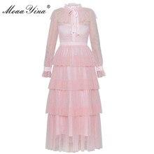 MoaaYina Spring Summer Designer Brand Dress Women Sweet Pink Tiered Mesh Lurex Cupcake Bowknot Ladies Party Ball Gown Dress цены онлайн