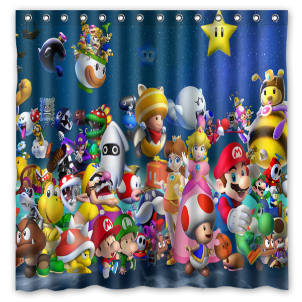 Super Mario Printed Polyester Shower Curtain Waterproof Home Bathroom Curtains With 12 Hooks 180x180CM In From Garden On