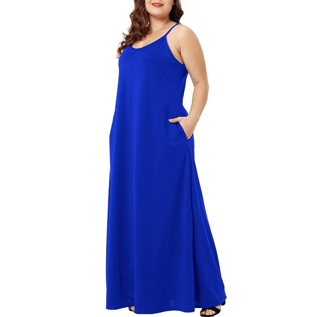 HTB1hAbKXMaH3KVjSZFjq6AFWpXaR Plus Size Dress Women Summer Solid Maxi Dresses Sexy Spaghetti Straps Sleeveless Loose Long Dress With Pockets Casual Vestidos