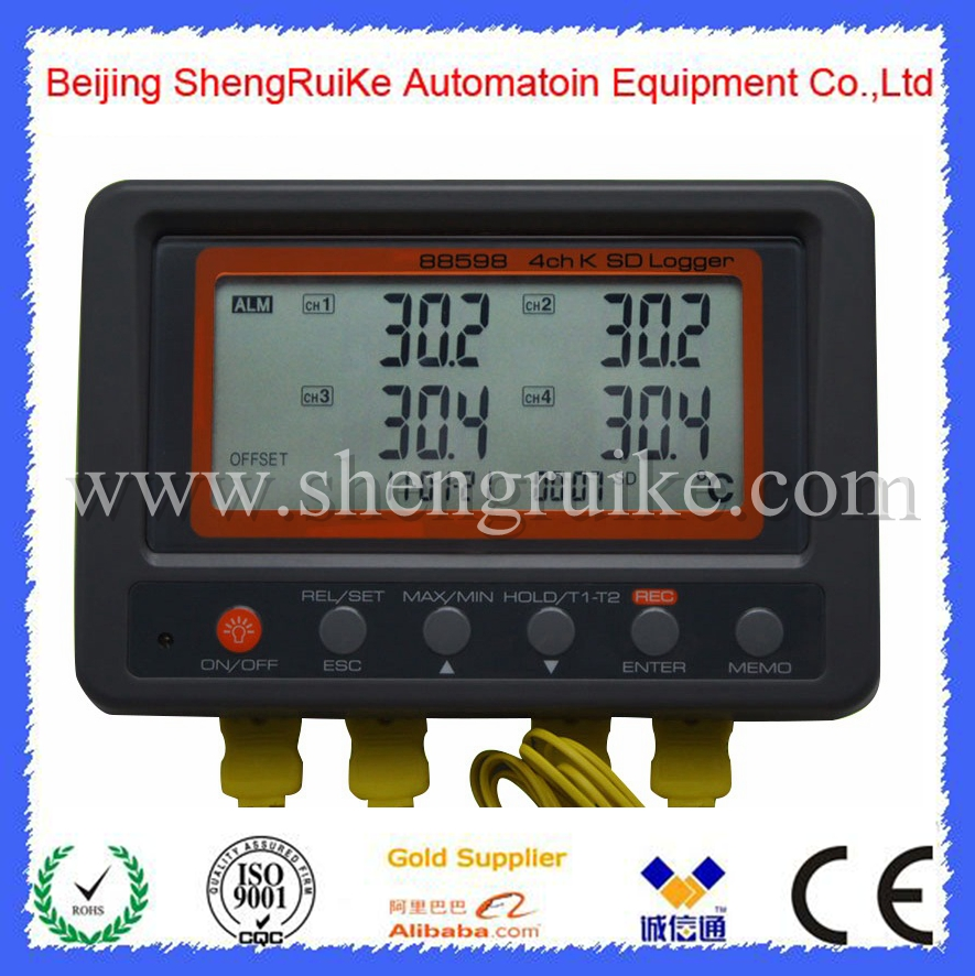 Multi-channel Digital Thermometer 4 Channel K Type Thermocouple Temperature logger SD Card Data Logger AZ-88598 mastech ms6514 dual channel digital thermometer temperature logger tester usb interface 1000 set data k j t e r s n thermocouple