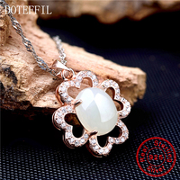 925 Sterling Silver Jewelry Rare Crystal Four Leaf Clover Rose Gold Necklaces Pendants Women's Fashion Brand Jewelry