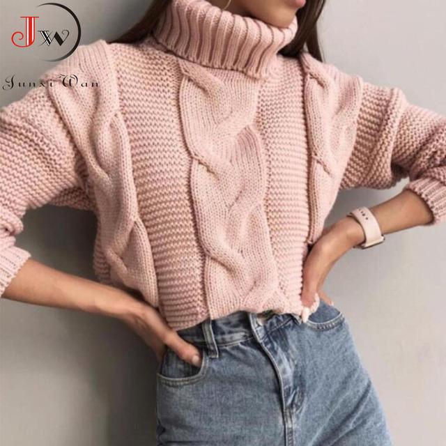 2019 Autumn Winter Short Sweater Women Knitted Turtleneck Pullovers Casual Soft Jumper Fashion Long Sleeve Pull Femme 2