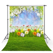 Vinyl Photography Backdrop Spring Season Green Lawn Wildflower Sunlight Decor Children Background Booth Photo Studio