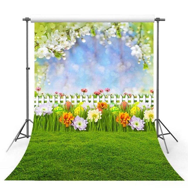 Vinyl Photography Backdrop Spring Season Green Lawn Wildflower