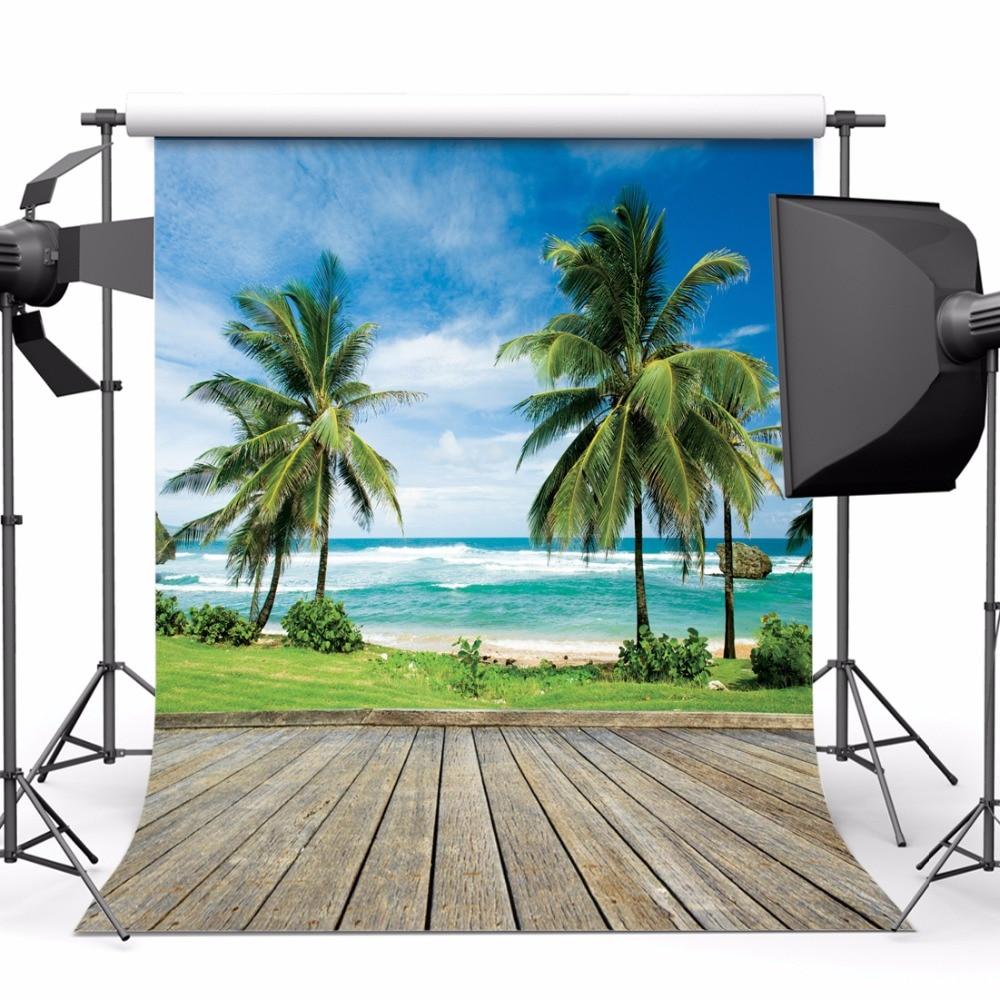 SJOLOON verano playa fotografía fondo mar árboles piso y cielo azul - Cámara y foto