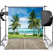 SJOLOON letní plážové fotografie pozadí mořské stromy podlahy a modré oblohy Pozadí obrázek fond photocall studio vinylové rekvizity