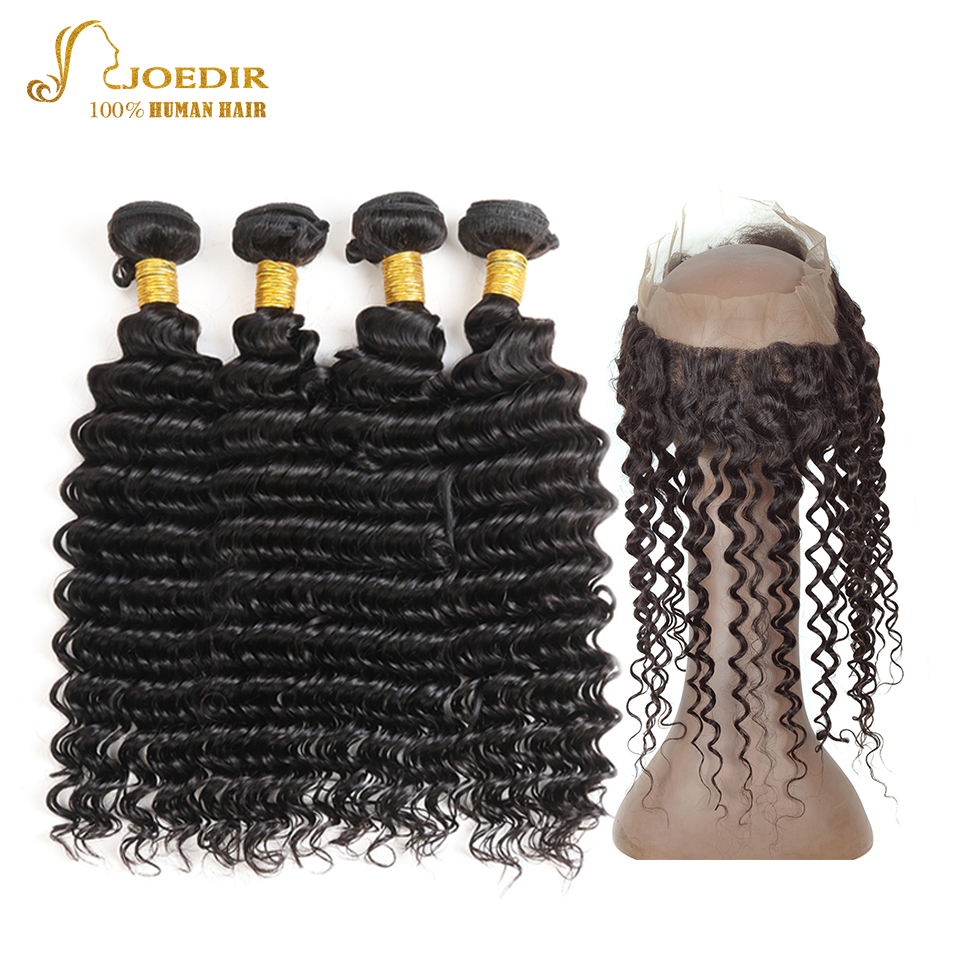 Joedir Peruvian Deep 4 Bundles With 360 Lace Frontal Closure With Baby Hair Non Remy Natural Black 100% Human Hair Extension