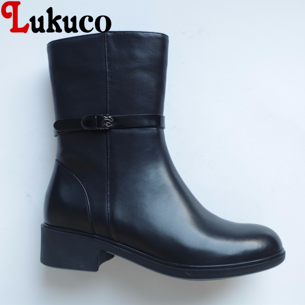 Lukuco pure color women mid-calf boots microfiber made buckle design low hoof heel zip shoes with short plush inside