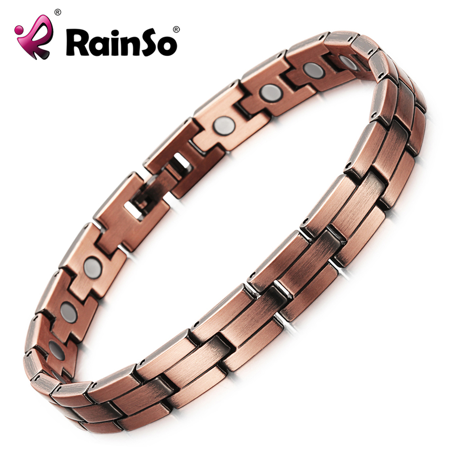 RainSo Copper Magnetic Men Women Bracelets Bronze Color Pure Copper Arthritis Healing Jewelry Brand Bracelets Homme
