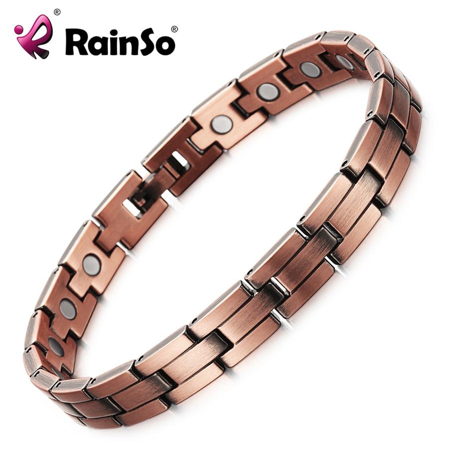 RainSo Copper Magnetic Men Women Bracelets Bronze Color Pure Copper Arthritis Healing Jewelry Brand Bracelets Homme