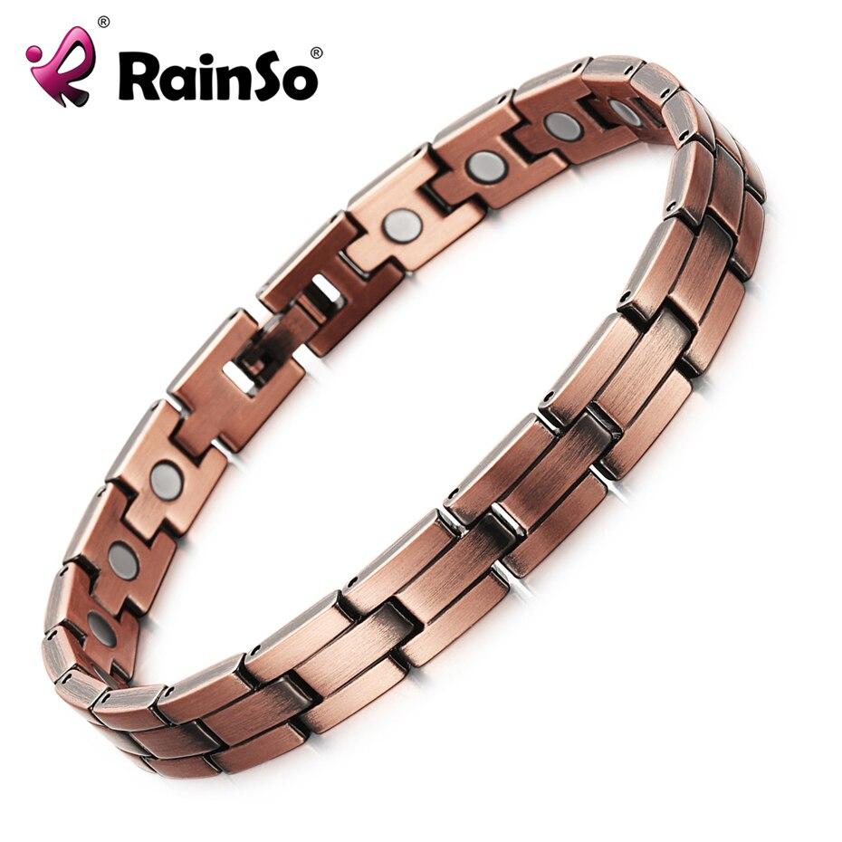 RainSo cobre magnética hombres mujeres pulseras de bronce cobre puro artritis curación marca de joyería pulseras hombre