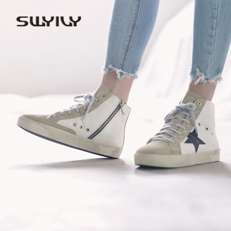 SWYIVY Woman Sneakers High Top Platform 2018 Spring Female Flat Casual  Shoes White Star Style Woman Canvas Shoes Sneaker Dirty-in Women s  Vulcanize Shoes ... b0b81b69555e