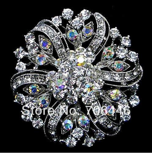 2 pollice Classic Vintage Tono Argento Chiaro e AB Strass Diamante Spilla Fiore Accessorio Accessorio di Cerimonia Nuziale