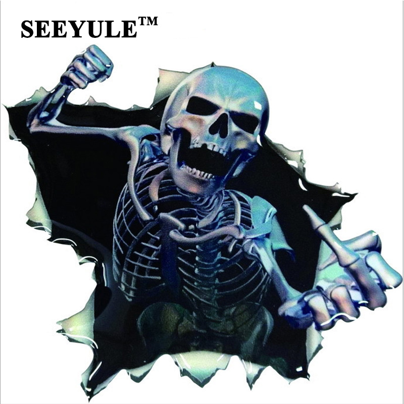 1pc SEEYULE New Arrival Crazy Skull Funny Car Sticker Rear Window - Car Exterior Accessories