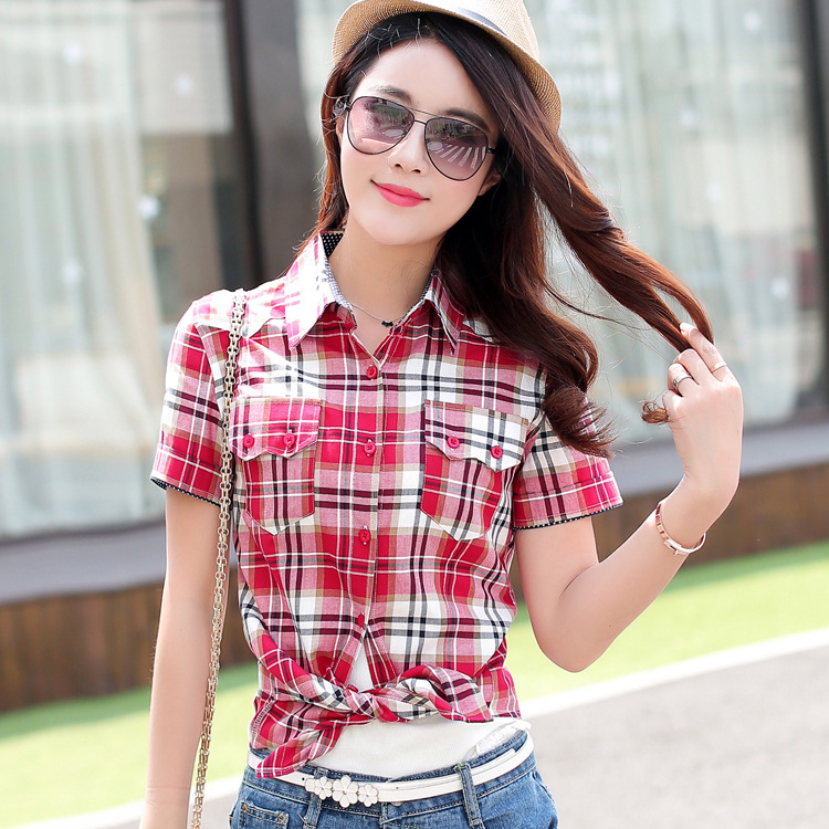 Hot Sale Summer cotton short sleeved plaid shirt for women plus ...