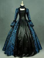 2016 Hot Sale Long Sleeve 18th Century Blue Print And Black Style Marie Antoinette Gothic Ball