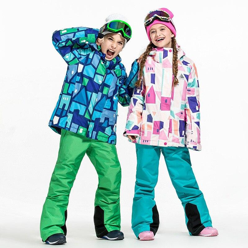 Combinaison de ski d'hiver pour enfants, garçons et filles, vêtements épaississants, résistants au froid et chauds, combinaison de ski et pantalons.