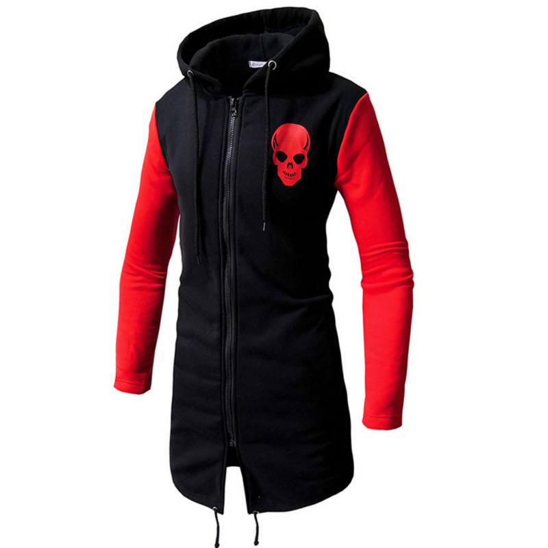 Mens Autumn Winter New Long Jackets Cardigan Hooded Fashion Men Casual Hoodies Male Tops 3colour
