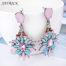 1 Pair Fashion Women Charm Retro Mixed Color Long Crystal Earrings Jewelry Holiday Souvenir Gifts
