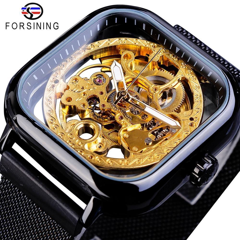 Forsining Hot Sale Men Automatic Watch Square Slim Black Stainless Steel Mesh Band Mechanical Skeleton Wristwatch Clock Dropship Mechanical Watches     - title=