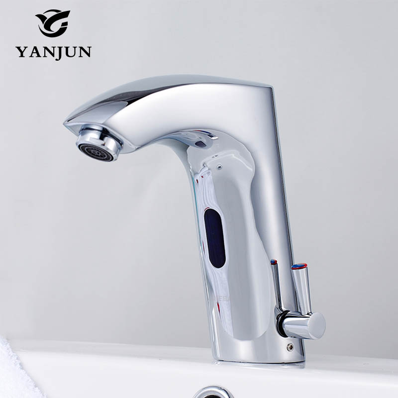 Yanjun Infrared Sensor Faucet Touchless Basin Faucet Automatic Tap Hotel Bathroom Brass Chromed Hot and Cold