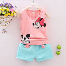 2016 new toddler children summer baby girls clothing set kids cartoon 2pcs suit Minnie mouse clothes sets