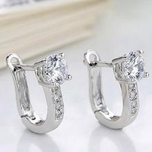 925 Sterling Silver Women Female Fashion U Shape  Rhinestone Inlaid Stud Earrings Beauty Jewelry Dropper Shipping