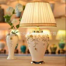 TUDA 38X62cm Free Shipping New Chinese Style Table Lamp White Vase Ceramics Table Lamp For Living Room Bedroom E27 110V-220V