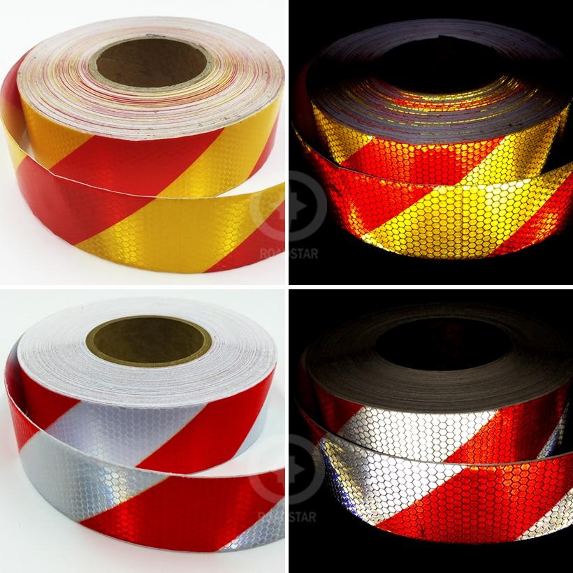 5cmx50m reflekterende tape selvklebende røde hvite shinning klistremerker som brukes i karosseriet for mote