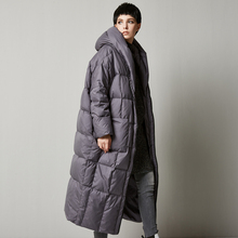 LYNETTE'S CHINOISERIE Winter New Women Fashion Ultra Loose X-long Hooded White Duck Down Jackets Thermal Oversize Coat Outerwear