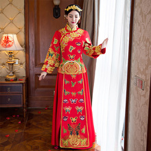 Red Bride Chinese Wedding Dress Women Embroidery Cheongsam Dresses Traditional Evening Gown Qipao Long Oriental Collars